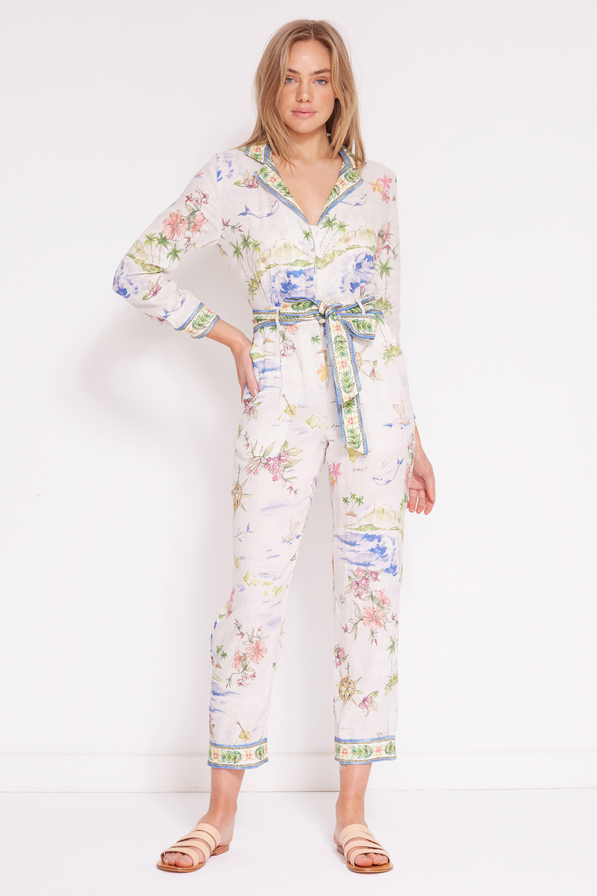 HAWAII CALLING LINEN LONG SLEEVE JUMPSUIT