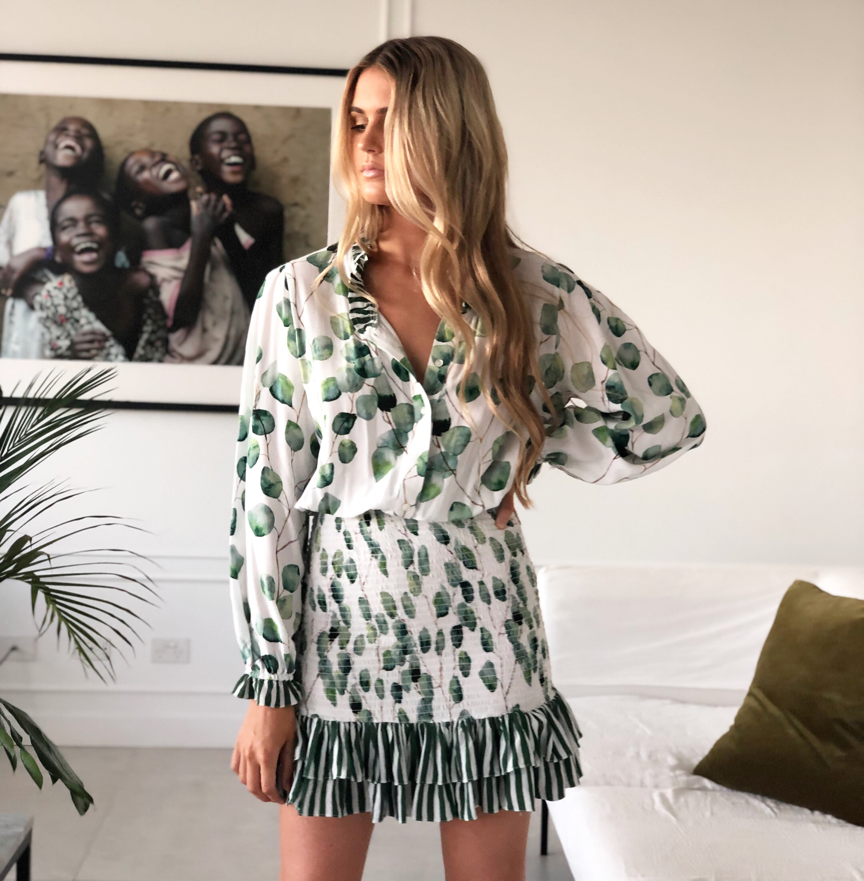 THE LEAFY LINES MINI DRESS