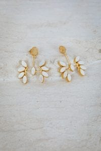 CLEAR AMBER AND PEARL EARRINGS