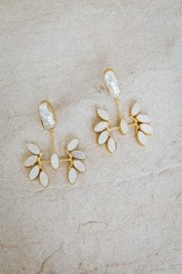 RAINA LEAF PEARL EARRINGS