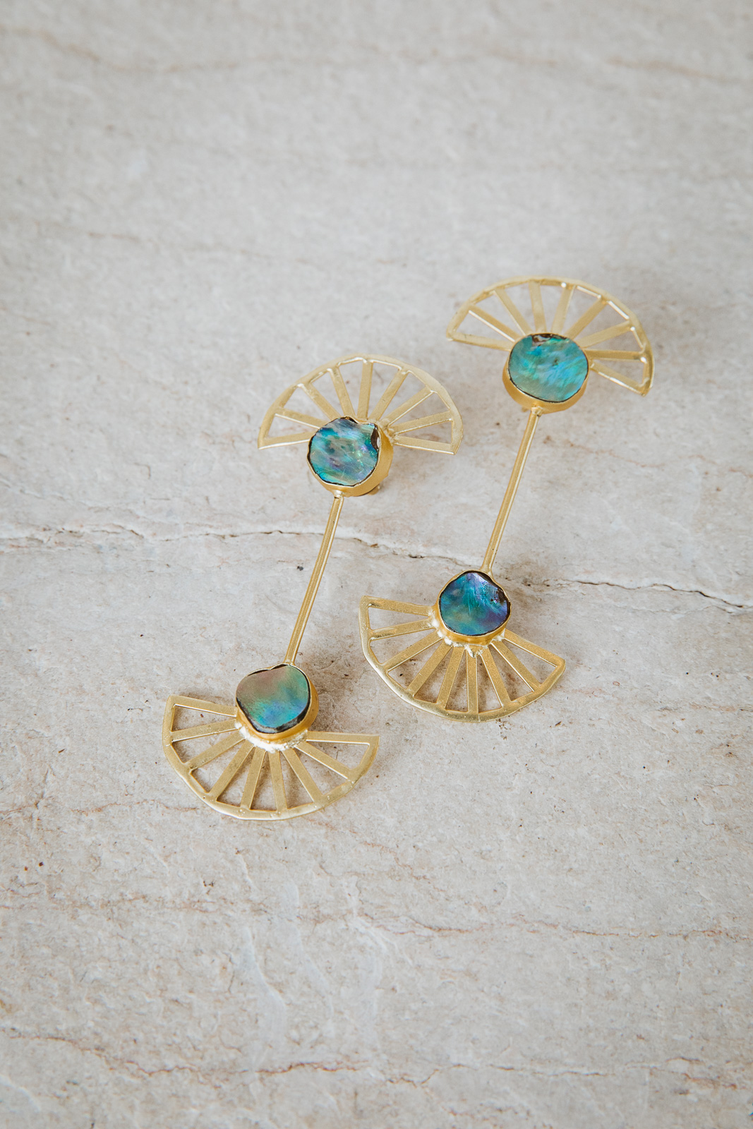 ABALONE SHELL FAN EARRINGS
