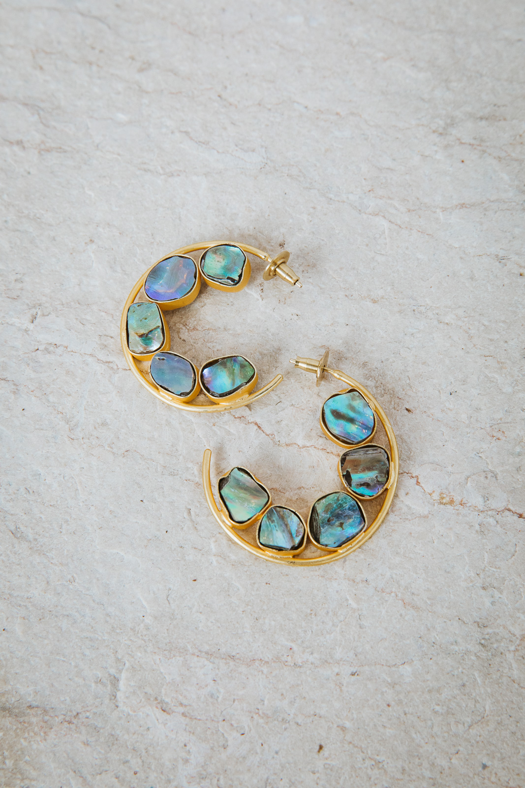 ABALONE SHELL MINI HOOP EARRINGS