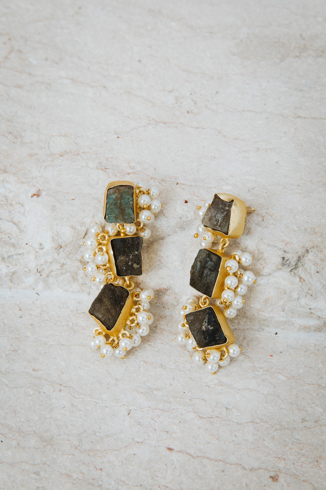 LUCINDA PEARL AND GRAPHITE EARRINGS