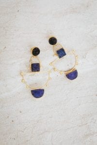 DEEP BLUE AND CHARCOAL ANCHOR EARRINGS