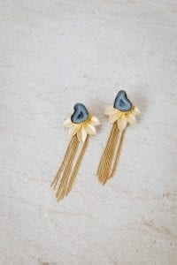 BLUE FALLING LEAF EARRINGS