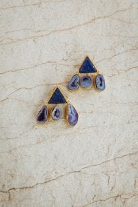 DARK PURPLE TRIANGLE EARRINGS