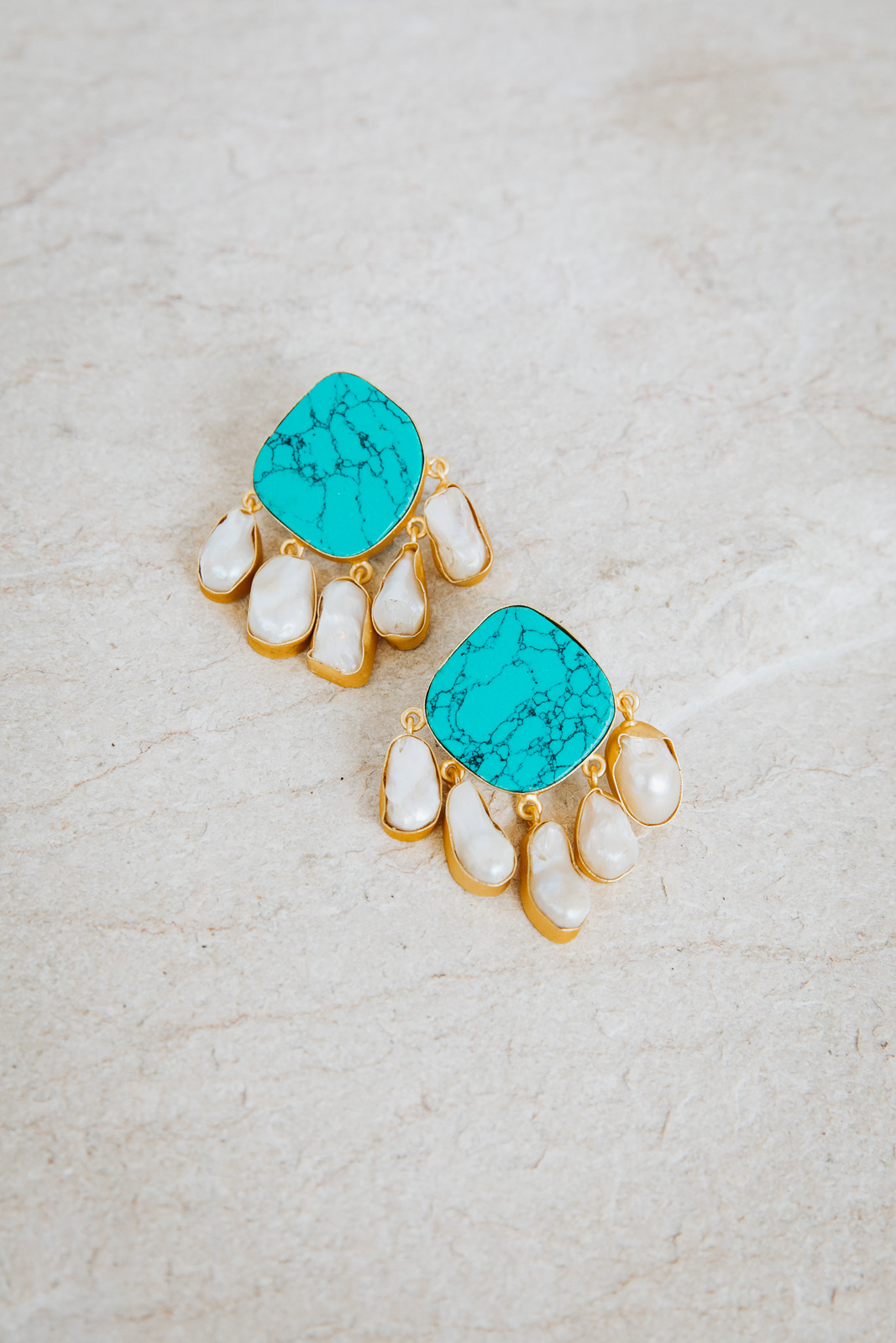 TURQUOISE WITH MOTHER OF PEARL EARRINGS