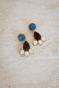 BLUE AND CHARCOAL DROP EARRINGS
