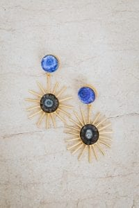 BLUE AND CHARCOAL ECLIPSE EARRINGS