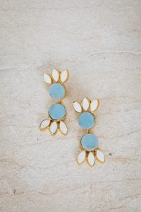 PASTEL BLUE DOUBLE TIER EARRINGS