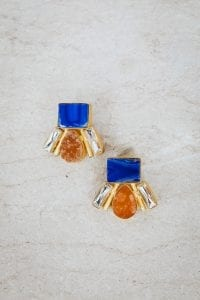 BLUE AND AMBER RAIN DROP EARRINGS