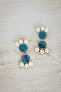 CELESTE BLUE AND PEARL DOUBLE TIER EARRINGS