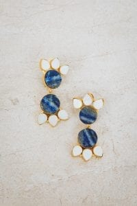 BLUE WITH PEARL DOUBLE TIER EARRINGS