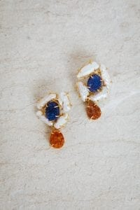 ALYSSA BLUE AND AMBER EARRINGS