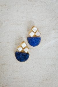 BLUE AND PEARL DIAMOND EARRINGS