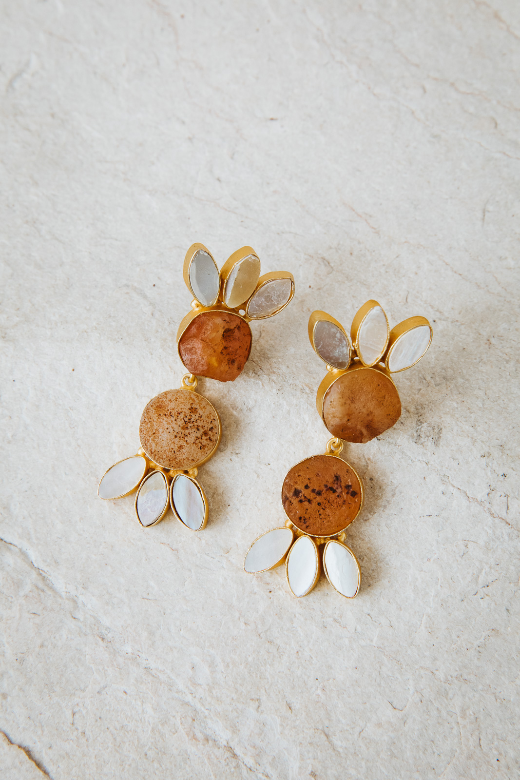 AMBER AND PEARL DOUBLE TIER EARRINGS