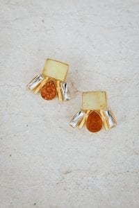 AMBER AND LEMON RAIN DROP EARRINGS