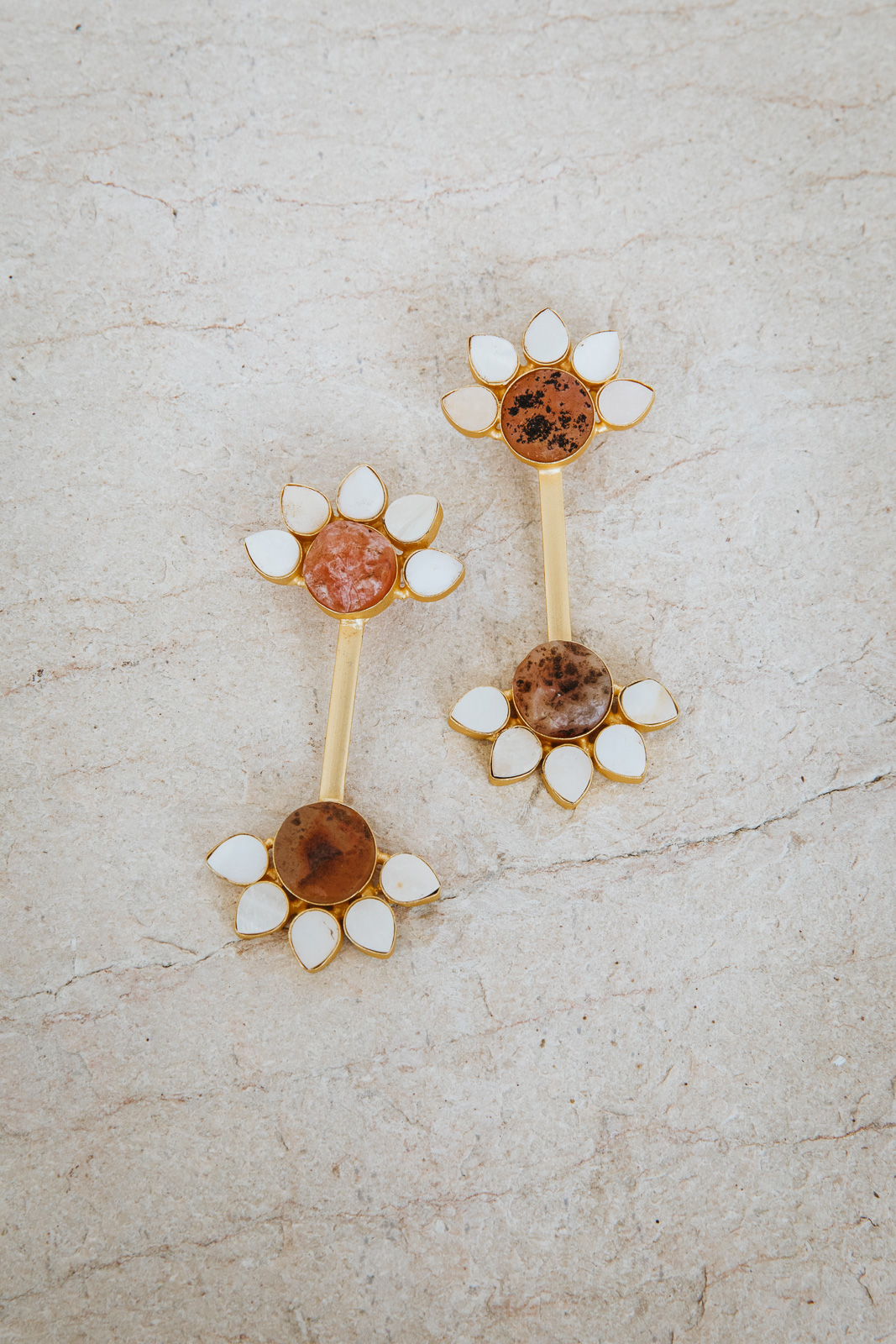 AMBER AND PEARL BLOOM EARRINGS