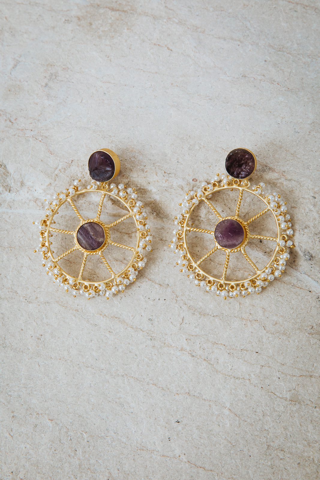 WHEEL OF PURPLE PEARLS EARRINGS