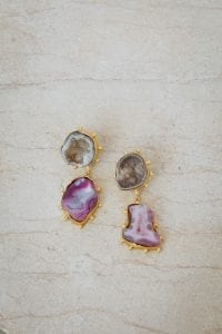 PURPLE AND BROWN CRYSTAL HAZE EARRINGS