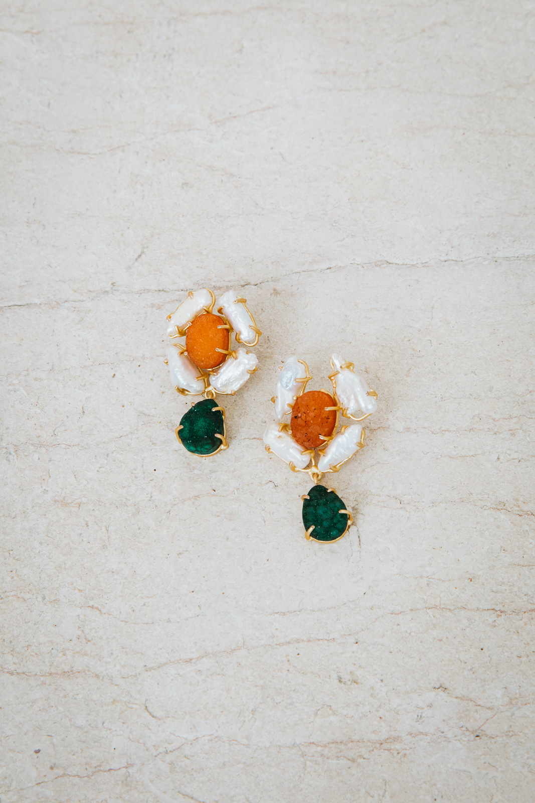 ALYSSA GREEN AND AMBER EARRINGS