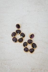 DARK PURPLE FLOWER PEBBLE EARRINGS