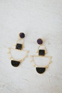 DEEP PURPLE AND CHARCOAL ANCHOR EARRINGS