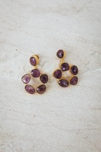 PURPLE HAZE FLOWER PEBBLE EARRINGS