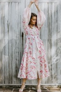 GARDEN OF NOSTALGIA SILK COTTON MAXI DRESS