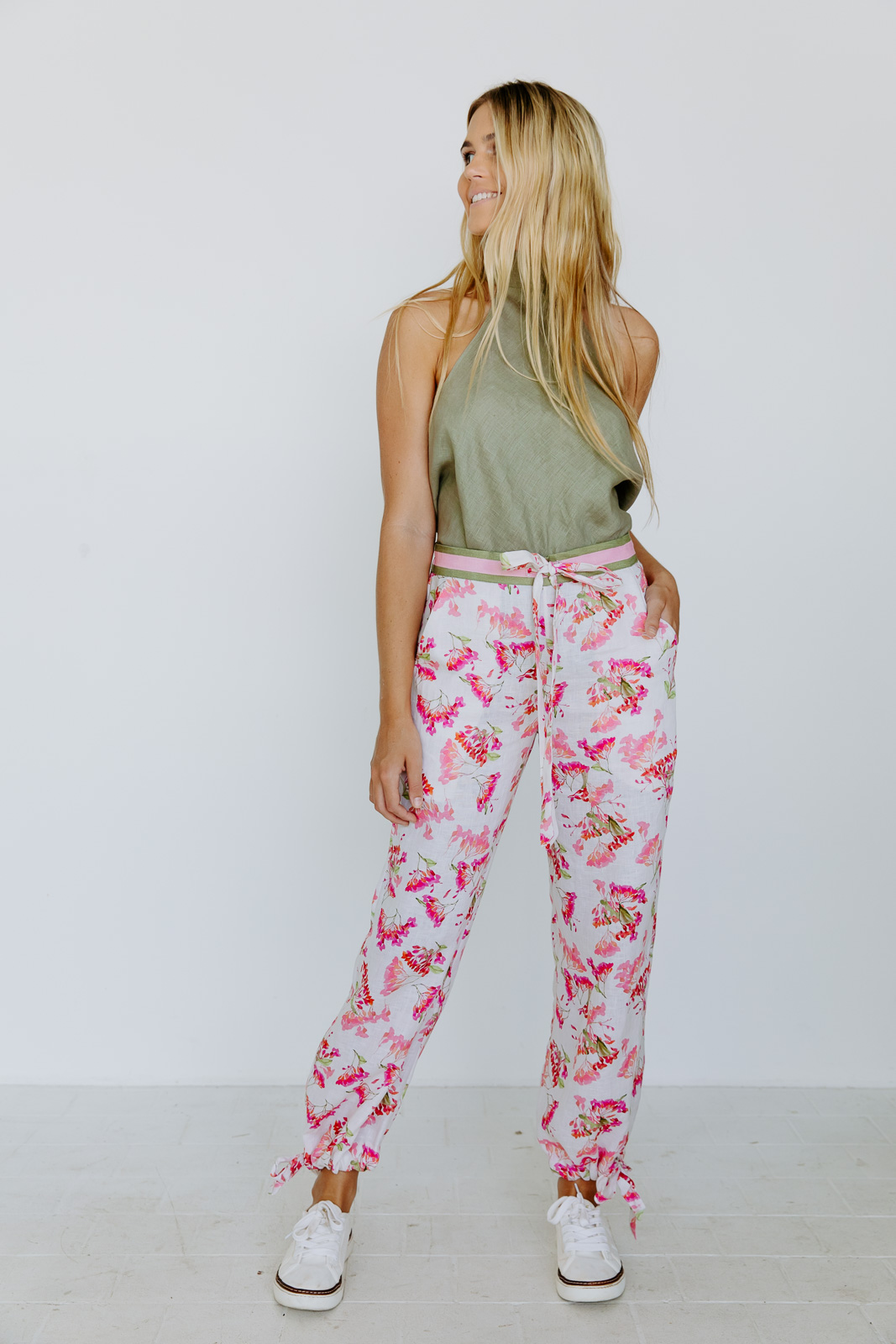 GARDEN OF NOSTALGIA LINEN DRAWSTRING PANTS