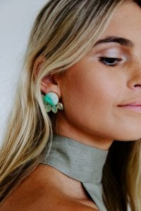 ROUND JADE STONE EARRINGS