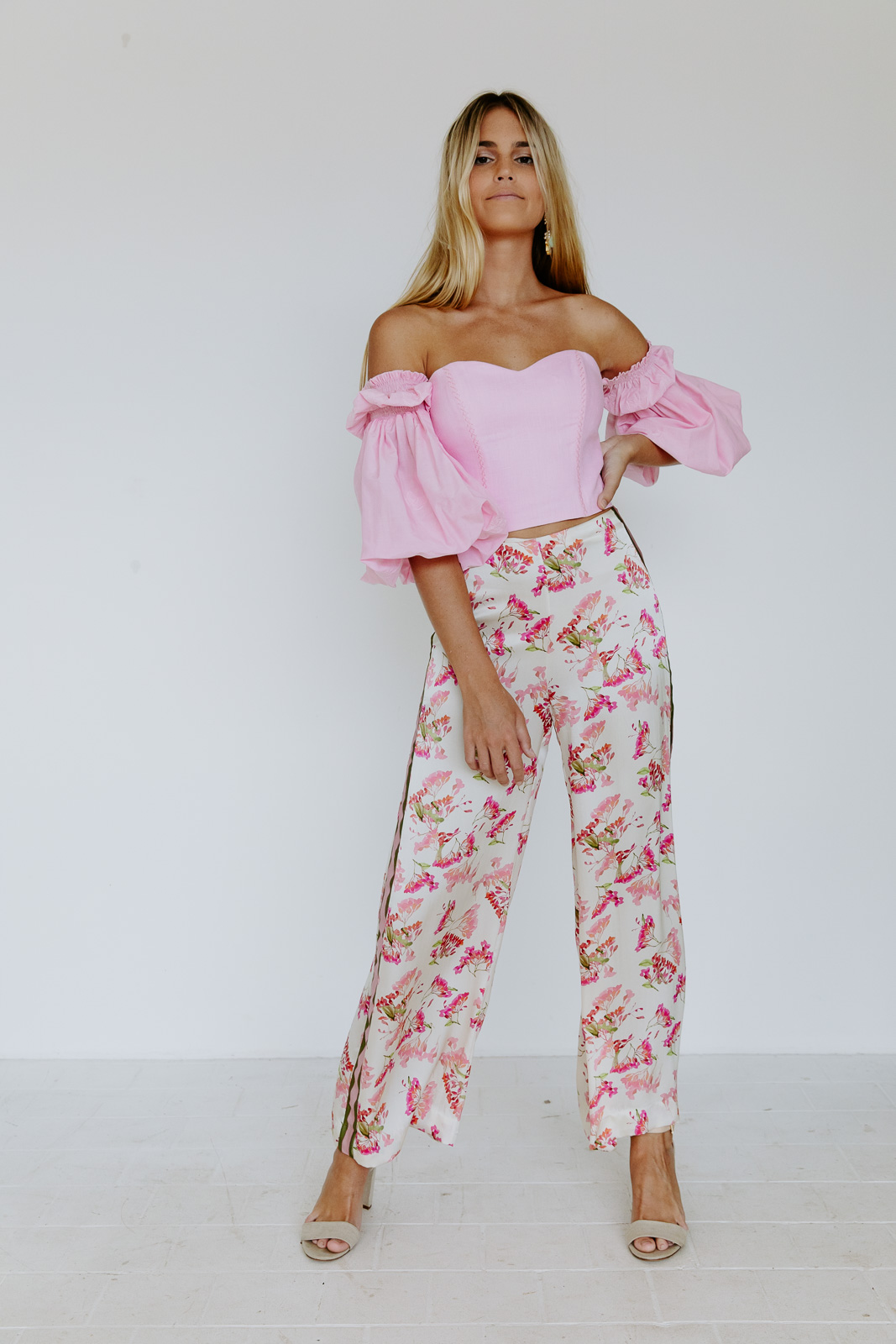 GARDEN OF NOSTALGIA SILK SATIN PANTS